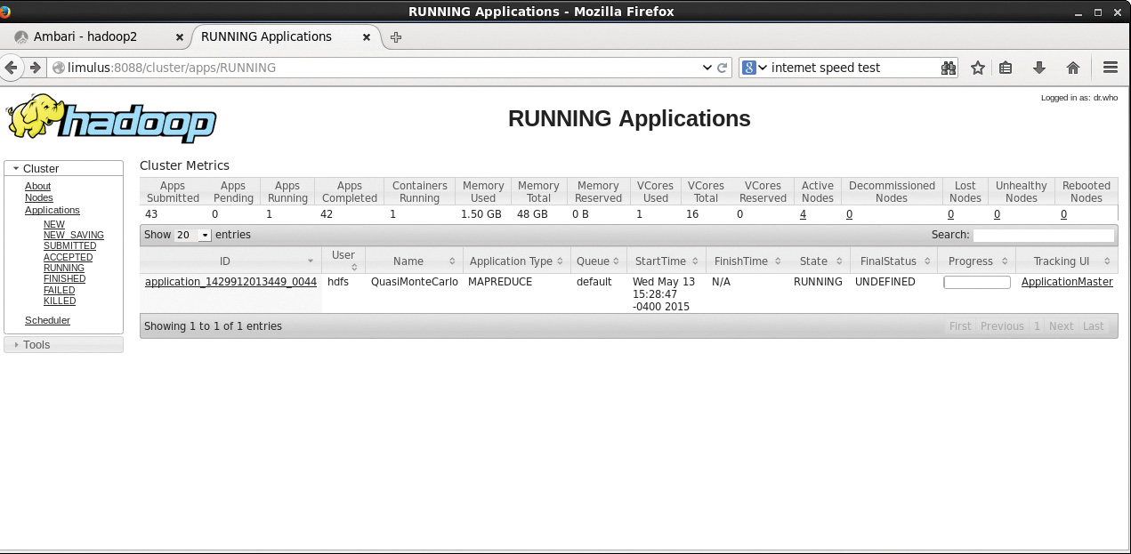 Figure 4.1 Hadoop RUNNING Applications web GUI for the pi example