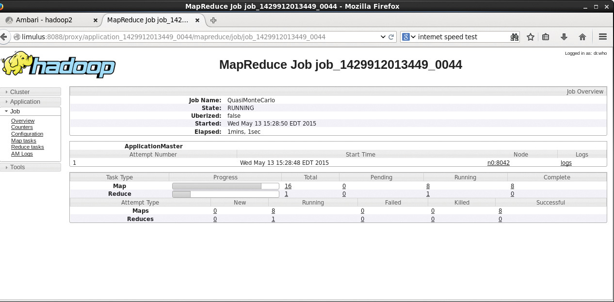 Figure 4.5 Hadoop YARN MapReduce job progress