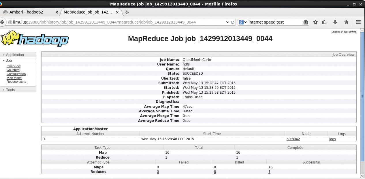 Figure 4.6 Hadoop YARN completed MapReduce job summary