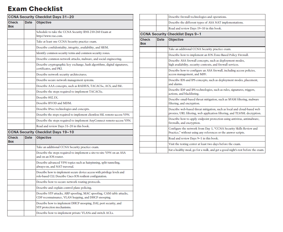 The checklist highlights important tasks and deadlines leading up to your  exam. Use it to help map out your studies.