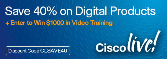 Save 40% on eBooks, videos, simulators, and practice tests from Cisco Press plus enter to win video training