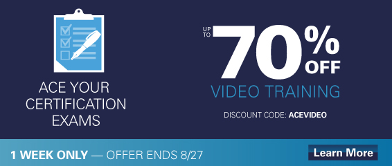 Save 70% on select video training from Pearson IT Certification