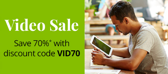 Save 70% on eligible full-course video training in the Video Sale from Pearson IT Certification