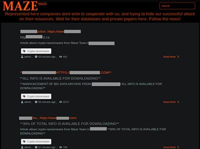 Screenshot of the Maze gang's web site.
