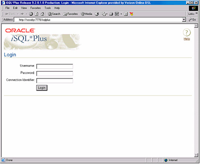 Login screen for Oracle 9i Release 2