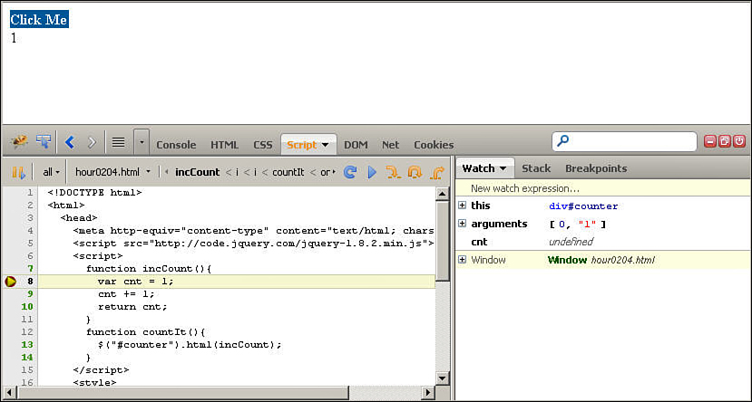 Hour 2  Debugging jQuery and JavaScript Web Pages