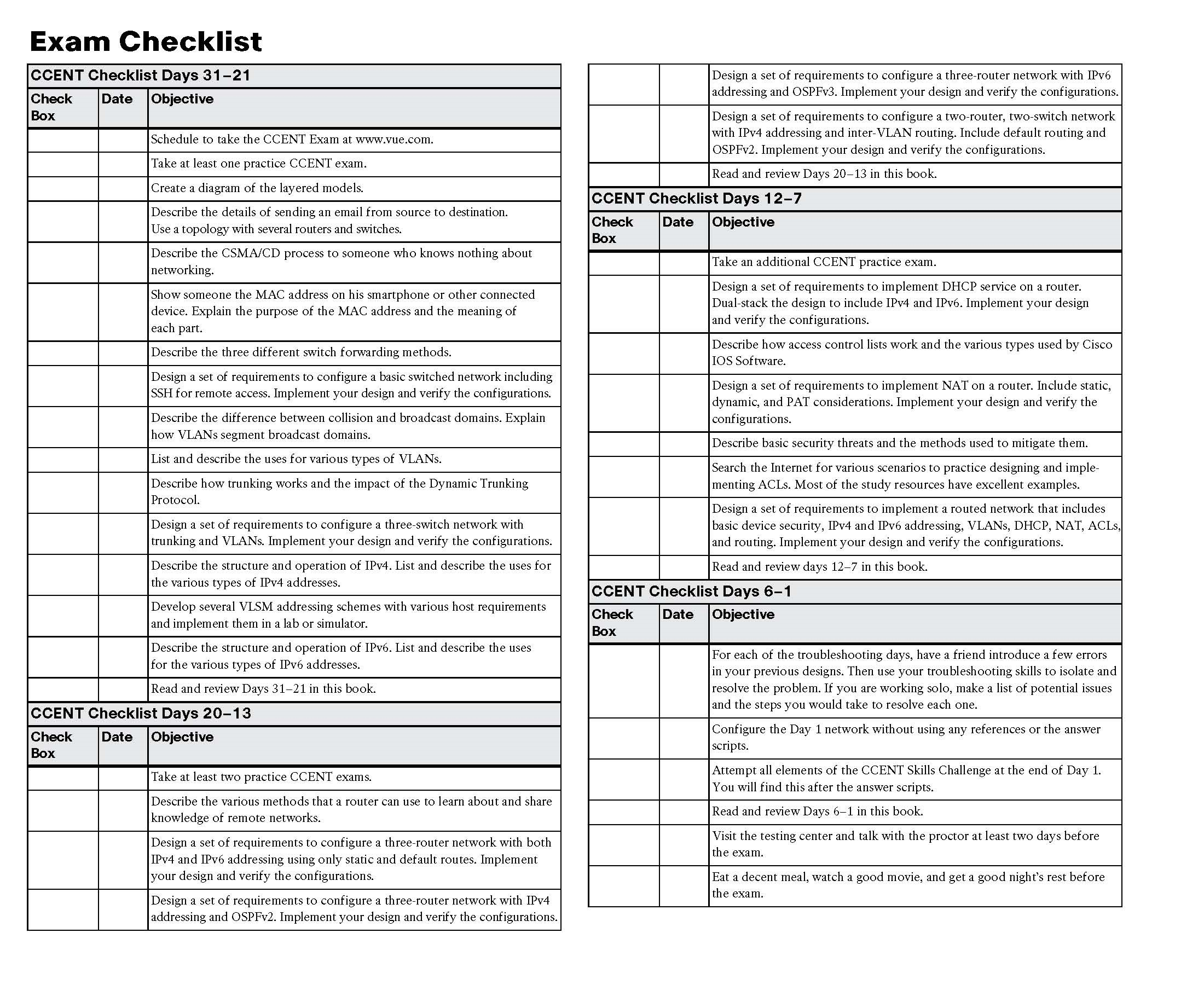 days before your ccent certification exam the checklist highlights important tasks and deadlines leading up to your exam use it to help you map out your studies