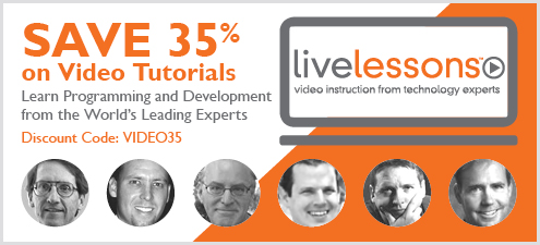 Video LiveLessons - Save 35% every day