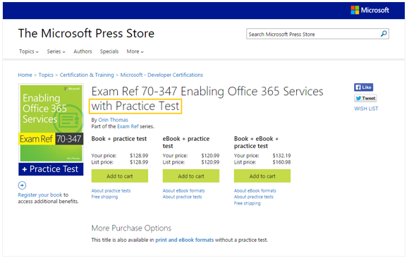 Image: Practice Test product page