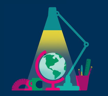 Illuminating the globe on a student desk