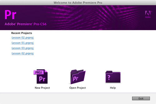 Setting Up a Project in Adobe Premiere Pro CS6 >