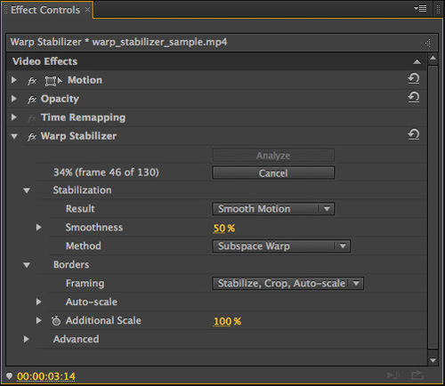 Stabilizing Footage with the Warp Stabilizer in Adobe Premiere Pro CS6 >