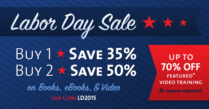 Save up to 70% in the Labor Day Sale from Adobe Press