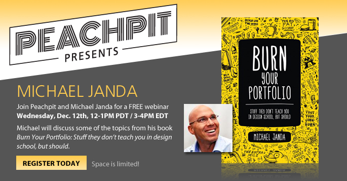 Join Peachpit and Michael Janda December 12th, 12-1PM PDT / 3-4PM EDT, for Peachpit Webinars: a free webinar series on design, web design, digital video, and creative business strategy.
