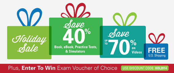 Save 40%-70% in the Holiday Sale from Pearson IT Certification