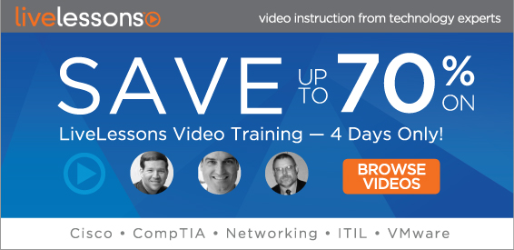 Save up to 70% on Video Course Downloads from Pearson IT Certification