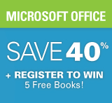 Enter to win 5 free books + save 40% on Microsoft Office Books, eBooks, and Videos during Office Week