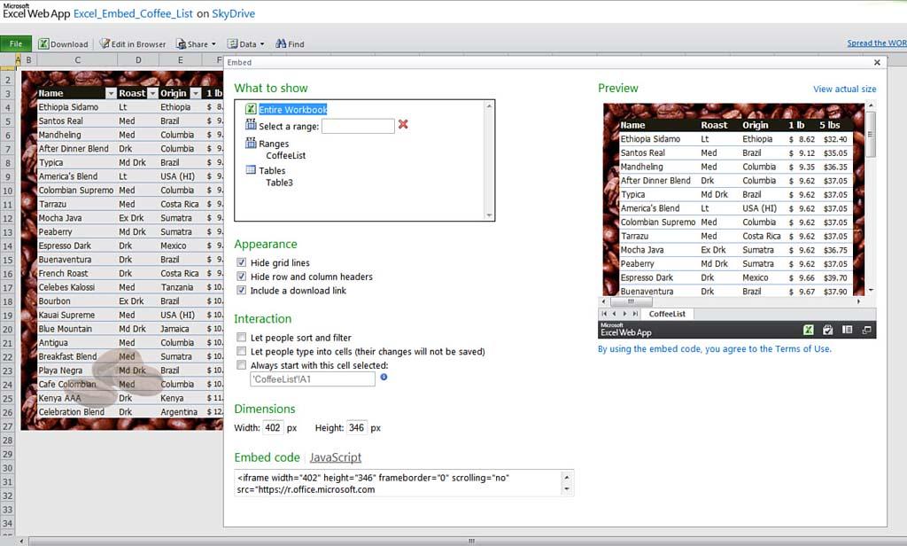 Embedding a Workbook in the Web App | Excel Web App Improvements