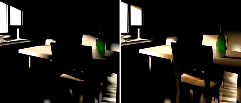 Figure 1 Sunlight entering a room is shown in isolation on the left. On the right a spill light is added around the sun.  sc 1 st  Peachpit & Top Ten Tips for More Convincing Lighting and Rendering | | Peachpit azcodes.com