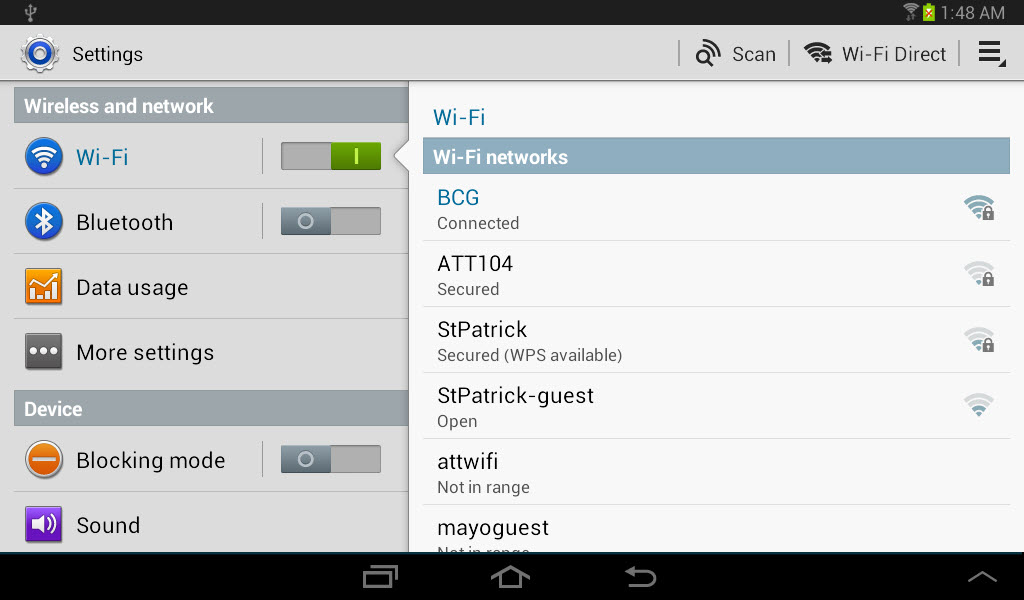 Using wi fi direct to connect your galaxy tab 2 to other devices figure 1 the wi fi direct menu option appears at the right side of the menu bar between the scan option and the menu icon greentooth Images