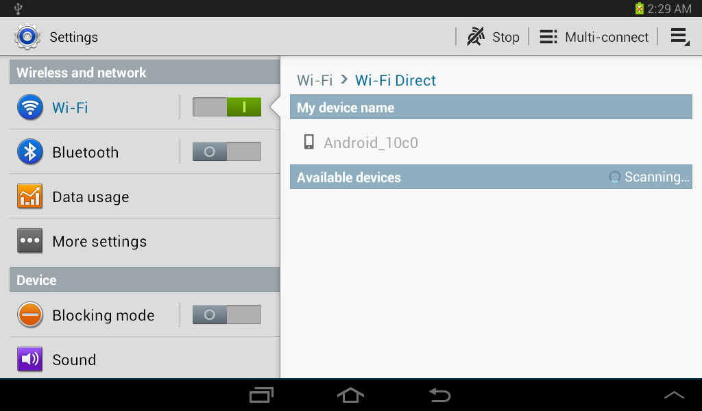 Using wi fi direct to connect your galaxy tab 2 to other devices figure 2 the wi fi direct setting options appear at the right side of the gray menu bar the menu bar appears at the top of the screen underneath the status keyboard keysfo Gallery