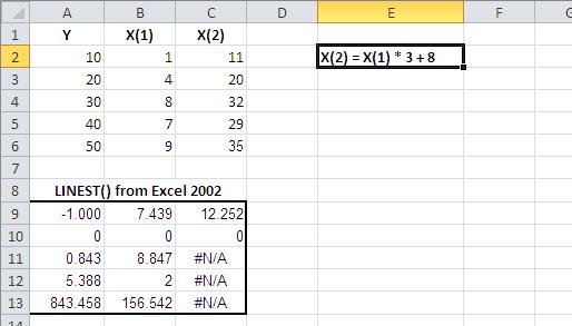 How Excel's LINEST() Handles Collinearity     InformIT