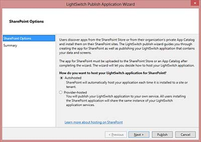 Publishing Your LightSwitch App in SharePoint