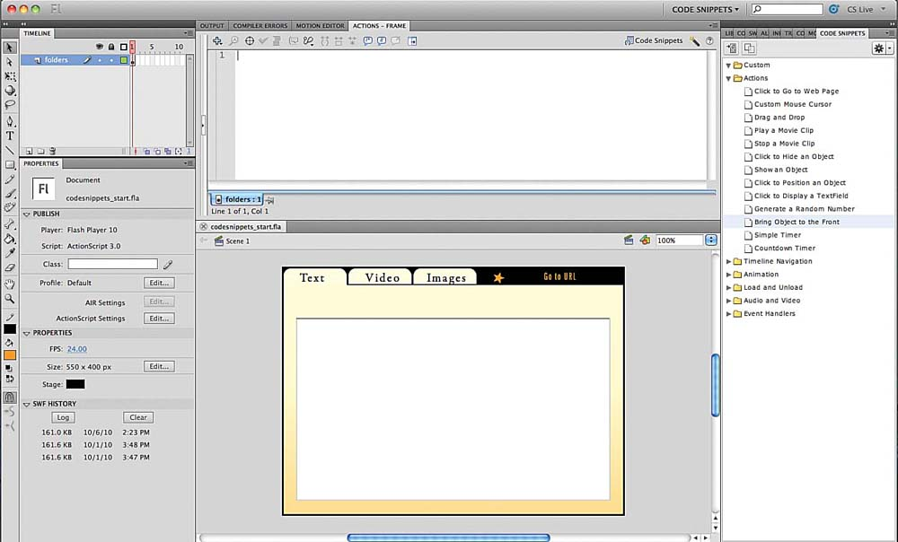 An Introduction to Using Code Snippets in Flash CS5