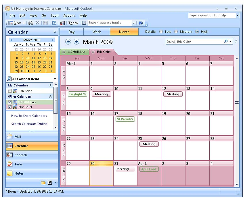using and sharing the calendar in outlook 2007