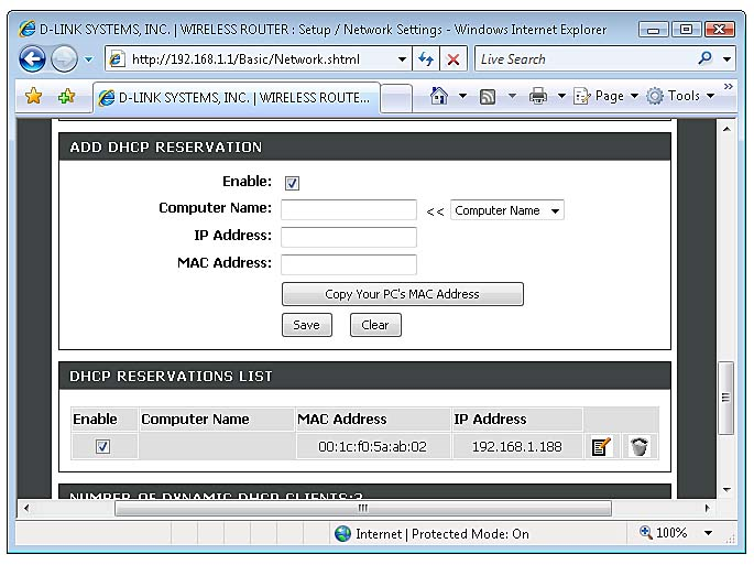 how to set dhcp reservation