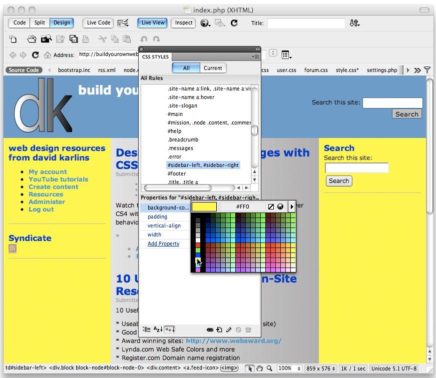 editing drupal themes in dreamweaver