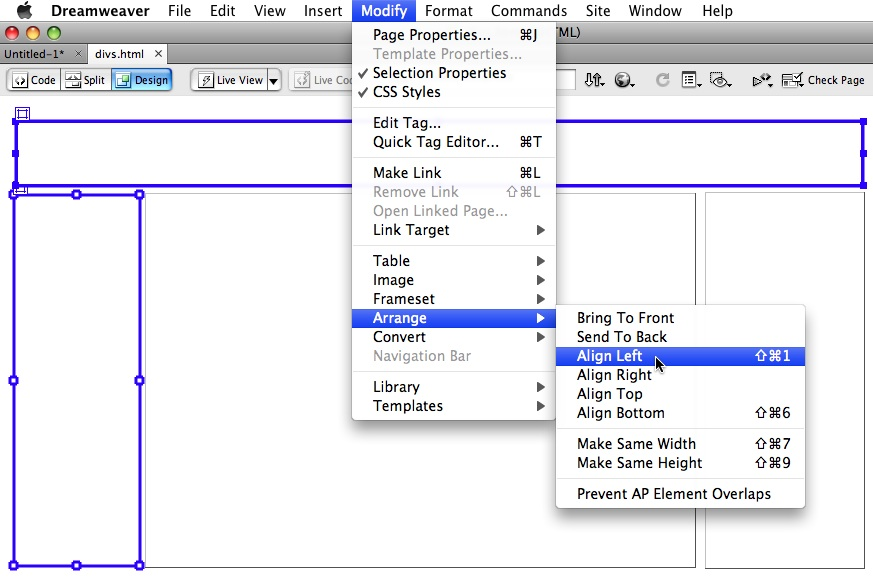 Page Design in Dreamweaver CS4 with apDiv Tags > Drawing