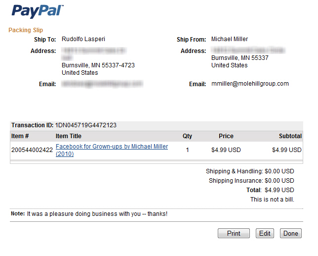 Using PayPal Shipping Services | Printing Packing Slips | Peachpit