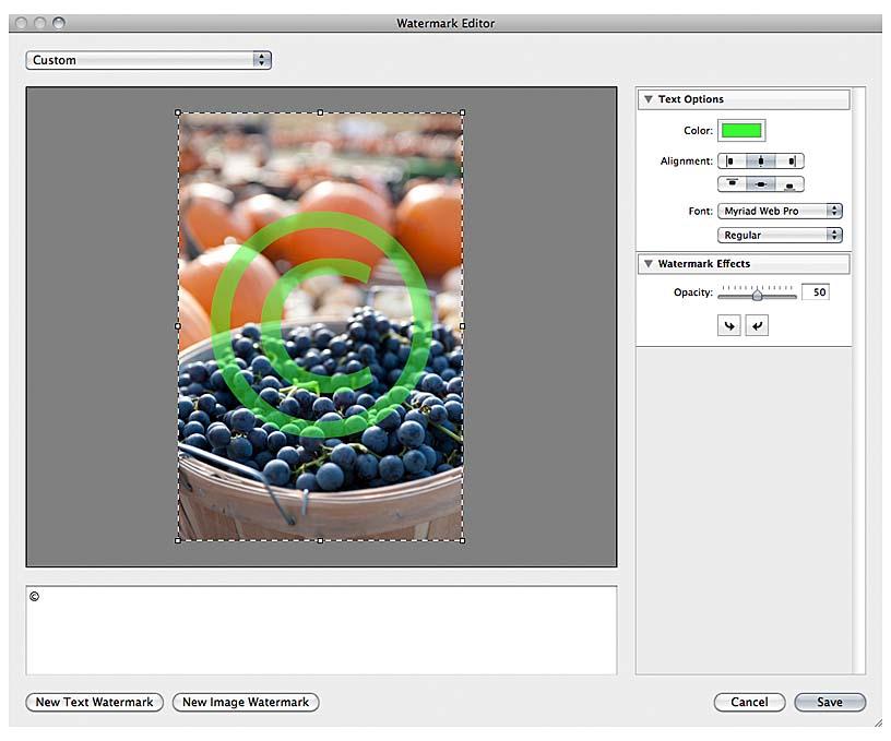 A Peek at Lightroom 3: Watermarking | Watermarking | Peachpit