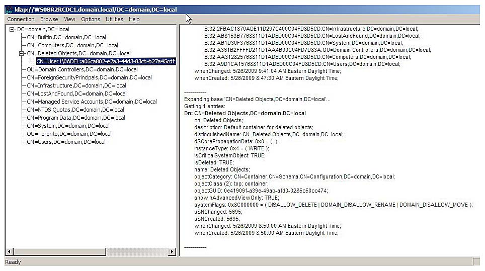 Viewing Deleted Objects Introducing The Active Directory