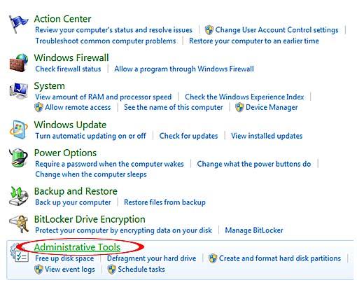 opening control panel as admin windows 7