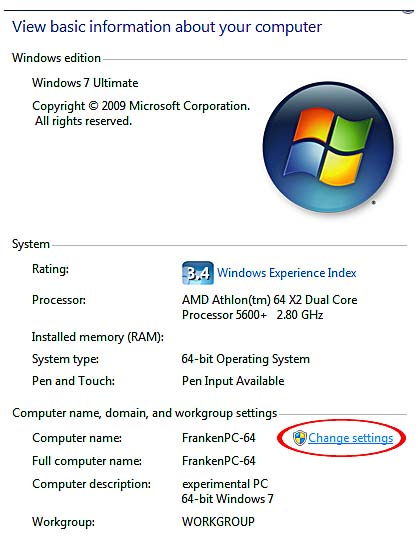 Sharing Resources on a Windows 7 Computer with Windows XP