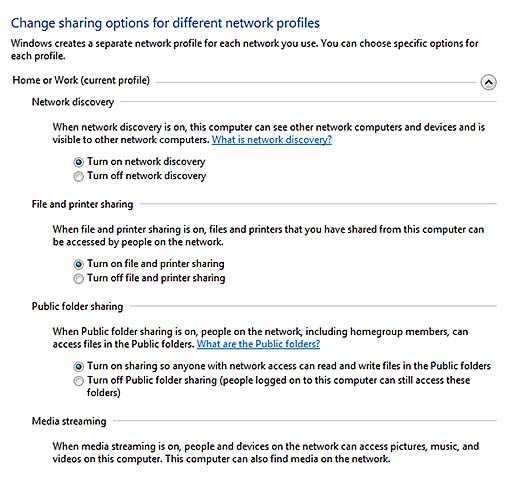 how to change network from public to home or work