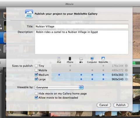 Use iMovie to Share Videos on MobileMe Gallery | Use iMovie