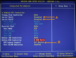 Figure 1. A typical system after the serial (COM) ports have been disabled (A) and USB Legacy mode has been enabled (B).