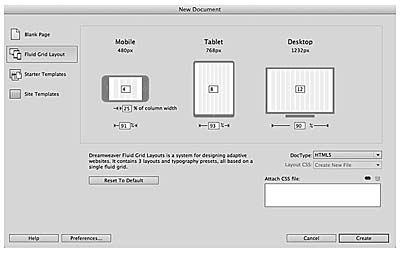 Responsive Design in Adobe Dreamweaver CC > Start with Fluid Grid ...