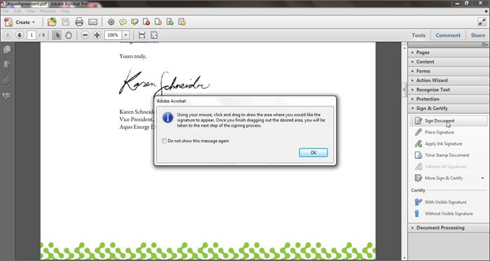 Click Sign Document In The Tools Task Pane A Dialog Box Appears Asking You To Draw Where Would Like Signature Appear See