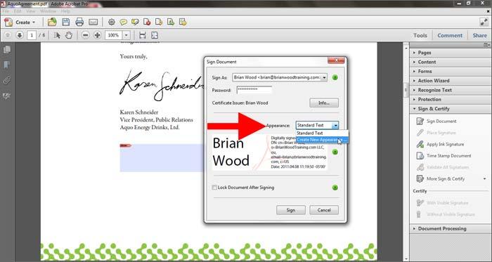 create new signature in pdf sign