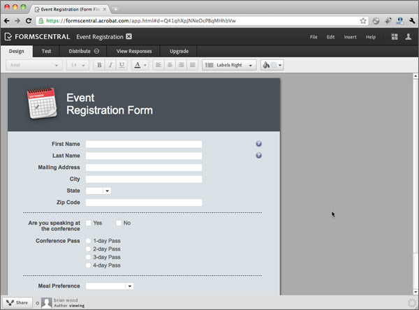 Creating A Form From A Template > Using The New Adobe Forms