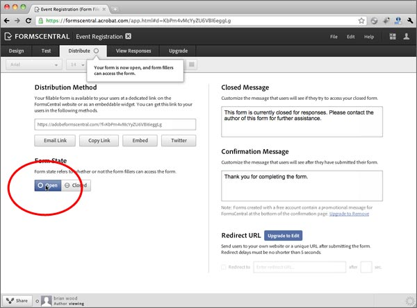 distributing your form > using the new adobe forms central to