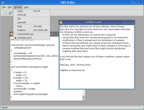 Multiple Document Interface | C++ GUI Programming with Qt4: Layout