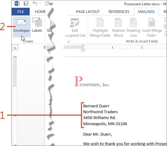 printing envelopes in word