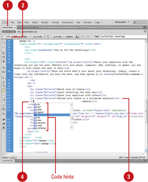 Entering HTML Code | Adobe Dreamweaver CS5 on Demand: Viewing the
