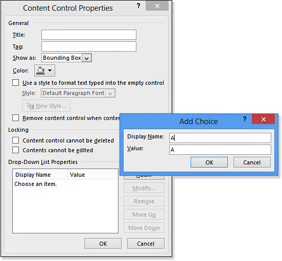 Creating a Form with Content Controls | Working with Fields