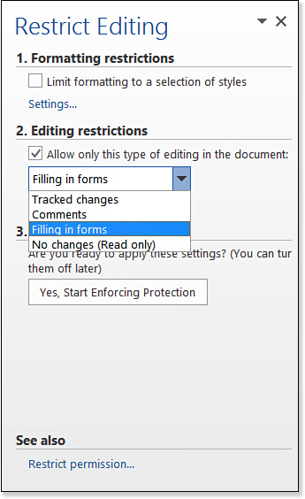 protected word document with editable fields